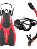 billige Våtdrakter, dykkerdrakter og våtskjorter-WHALE Snorkelpakker Dykking Pakker - Dykkermaske Dykkerfinner snorkel - Anti-Tåke Justerbar Tørrdrakt - topp Svømming Dykking Silikon Glass Gummi  Til Voksen