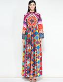 baratos Vestidos Longos-Mulheres Para Noite Moda de Rua Algodão balanço Vestido Floral / Estampa Colorida Longo