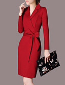Χαμηλού Κόστους Επαγγελματικά Φορέματα-Γυναικεία Μεγάλα Μεγέθη Πάρτι Δουλειά Κομψό στυλ street Εκλεπτυσμένο Λεπτό Εφαρμοστό Φόρεμα - Μονόχρωμο, Φιόγκος Ως το Γόνατο Πάνω από το Γόνατο Κολάρο Πουκαμίσου / Sexy