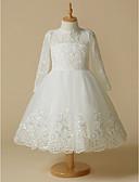זול שמלות לילדות פרחים-נסיכה באורך  הברך שמלה לנערת הפרחים - תחרה / טול שרוול ארוך עם תכשיטים עם אפליקציות / תחרה על ידי LAN TING BRIDE® / יום הולדת