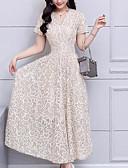 Χαμηλού Κόστους Μακριά Φορέματα-Γυναικεία Μεγάλα Μεγέθη Εξόδου Γραμμή Α Φόρεμα - Γεωμετρικό, Δαντέλα Μίντι Λαιμόκοψη V
