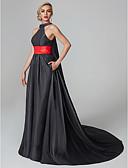 Χαμηλού Κόστους Βραδινά Φορέματα-Βραδινή τουαλέτα Δένει στο Λαιμό Ουρά μέτριου μήκους Σατέν Στυλ Διασήμων Κοκτέιλ Πάρτι / Επίσημο Βραδινό / Αργίες Φόρεμα 2020 με Ζώνη / Κορδέλα / Φούντα / Πλισέ