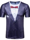 billige T-skjorter og singleter til herrer-Rund hals T-skjorte Herre - 3D, Trykt mønster Grunnleggende Lilla / Kortermet