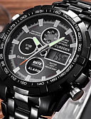 ราคาถูก นาฬิกาข้อมือสายหนัง-สำหรับผู้ชาย นาฬิกาแฟชั่น นาฬิกาดิจิตอล นาฬิกาอิเล็กทรอนิกส์ (Quartz) สแตนเลส ดำ / ทอง / Rose Gold 30 m นาฬิกาปลุก ปฏิทิน โปรแกรม Word เย็น / วลี อะนาล็อก-ดิจิตอล ความหรูหรา - สีทอง สีดำ Rose Gold