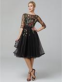 billige Aftenkjoler-A-linje Illusjon Hals Telang Tyll Liten svart kjole Cocktailfest / Skoleball Kjole 2020 med Broderi