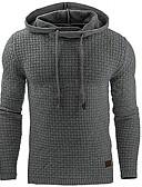 Χαμηλού Κόστους Αντρικές Μπλούζες με Κουκούλα & Φούτερ-Ανδρικά Μεγάλα Μεγέθη Μακρυμάνικο Αθλητικά Βασικό Λεπτό Φούτερ με Κουκούλα - Μονόχρωμο Με Κουκούλα / Άνοιξη / Φθινόπωρο