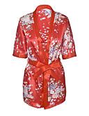 billiga Morgonrockar och sovplagg-Dam Tryck Sexig Uniform / kinesisk klänning / Dräkt Natt Blommig Rubinrött En Storlek / Djup V-hals