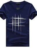 billige T-skjorter og singleter til herrer-Bomull Tynn Rund hals Store størrelser T-skjorte Herre - Grafisk Aktiv / Grunnleggende Grå / Kortermet / Vår / Sommer