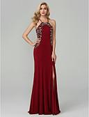 povoljno Maturalne haljine-A-kroj Tanke naramenice Do poda Šifon Prom / Formalna večer Haljina s Perlica / Prednji izrez po TS Couture®