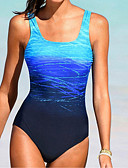 זול בגדי ים במידות גדולות-פול L XL XXL קולור בלוק, בגדי ים חלק אחד (שלם) נועזת Bandeau פול אודם סטרפלס בסיסי בגדי ריקוד נשים