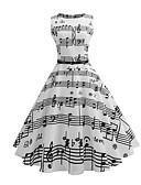 baratos Vestidos Vintage-Mulheres Vintage Anos 50 Evasê Vestido - Estampado, Listrado Médio Branco