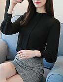 ราคาถูก เสื้อผู้หญิง-สำหรับผู้หญิง ขนาดพิเศษ เชิร์ต Street Chic ทำงาน ครูเน็ค สีพื้น ใบไม้สีเขียวที่มีสามแฉก / ฤดูใบไม้ผลิ / ฤดูร้อน