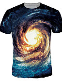 baratos Camisetas & Regatas Masculinas-Homens Tamanhos Grandes Camiseta Activo / Básico Estampado, Galáxia Decote Redondo Azul / Manga Curta / Verão