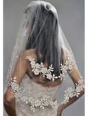 זול הינומות חתונה-שתי שכבות מסוגנן / פנינים הינומות חתונה צעיפי מרפק עם דמוי פנינה / ריקמה פולי / הינונמה נופלת