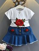 ราคาถูก ชุดเด็กผู้หญิง-Toddler เด็กผู้หญิง ทุกวัน โรงเรียน ลายดอกไม้ แขนสั้น ปกติ ชุดเสื้อผ้า ขาว / น่ารัก