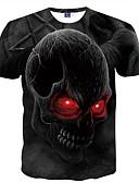 baratos Camisetas & Regatas Masculinas-Homens Camiseta - Bandagem Básico Estampado, Caveiras Decote Redondo Preto / Manga Curta / Verão
