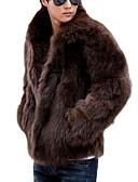 Χαμηλού Κόστους Men's Belt-Ανδρικά Καθημερινά / Σαββατοκύριακο Klasika Χειμώνας Κανονικό Παλτό, Μονόχρωμο Κολάρο Πουκαμίσου Μακρυμάνικο Ψεύτικη Γούνα Λευκό / Μαύρο / Καφέ
