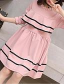 Χαμηλού Κόστους Φορέματα για κορίτσια-Παιδιά Κοριτσίστικα Γλυκός Καθημερινά Μονόχρωμο Με Βολάν Μακρυμάνικο Φόρεμα Μαύρο / Βαμβάκι