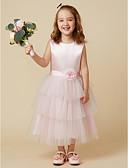 ราคาถูก เดรสสาวดอกไม้-A-line เสมอเข่า ชุดสาวดอกไม้ - ซาติน / Tulle เสื้อไม่มีแขน อัญมณี กับ ริบบิ้น / ดอกไม้ โดย LAN TING BRIDE®