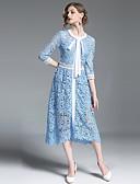 Χαμηλού Κόστους Print Dresses-Γυναικεία Εξόδου Βίντατζ / Κομψό στυλ street Γραμμή Α Φόρεμα - Μονόχρωμο, Δαντέλα Μίντι