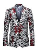ราคาถูก เบลเซอร์ &สูทผู้ชาย-สำหรับผู้ชาย ปาร์ตี้ / ไปเที่ยว ปกติ เสื้อคลุมสุภาพ, ลายดอกไม้ คอวี แขนยาว ฝ้าย / เส้นใยสังเคราะห์ สีเงิน