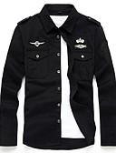 ราคาถูก เสื้อเชิ้ตผู้ชาย-สำหรับผู้ชาย ขนาดพิเศษ เชิร์ต Military ฝ้าย ปัก สีพื้น สีดำ / แขนยาว / ฤดูร้อน / ตก