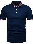 Χαμηλού Κόστους Ανδρικά μπλουζάκια και φανελάκια-Ανδρικά Polo Κομψό στυλ street Ριγέ / Συνδυασμός Χρωμάτων Κολάρο Πουκαμίσου Patchwork Μαύρο / Κοντομάνικο / Καλοκαίρι
