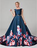 ราคาถูก ชุดเพื่อนเจ้าสาว-บอลกาวน์ ตักคอ ชายกระโปรงคอร์ท ซาติน ค็อกเทลปาร์ตี้ / ทางการ แต่งตัว กับ แพทเทิร์นหรือลายพิมพ์ โดย TS Couture®