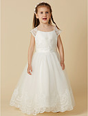Χαμηλού Κόστους Λουλουδάτα φορέματα για κορίτσια-Γραμμή Α Μακρύ Φόρεμα για Κοριτσάκι Λουλουδιών - Δαντέλα / Τούλι Κοντομάνικο Scoop Neck με Κουμπί / Ζώνη / Κορδέλα / Πρώτη Κοινωνία