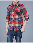 billige Bukser til gutter-Barn Gutt Grunnleggende Daglig Ruter Langermet Bomull Skjorte Grønn