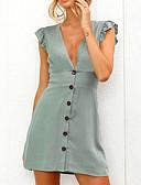 ราคาถูก มินิเดรส-สำหรับผู้หญิง ไปเที่ยว แขนผีเสื้อ เพรียวบาง Shift แต่งตัว - Ruched, สีพื้น ขนาดเล็ก เอวสูง คอวี / ระบาย