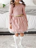 זול שמלות לתינוקות-שמלה שרוול ארוך מנוקד ורד מאובק תחרה בנות פעוטות / כותנה