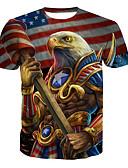 billige T-skjorter til damer-Bomull Rund hals Store størrelser T-skjorte Herre - Dyr Grunnleggende Regnbue / Kortermet / Lang