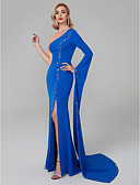 Χαμηλού Κόστους Βραδινά Φορέματα-Τρομπέτα / Γοργόνα Ένας Ώμος Μακρύ Spandex Με Σκίσιμο / Στυλ Διασήμων Κοκτέιλ Πάρτι / Χοροεσπερίδα / Επίσημο Βραδινό Φόρεμα 2020 με Χάντρες / Κρυστάλλινη λεπτομέρεια / Με Άνοιγμα Μπροστά