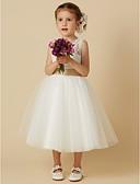 ราคาถูก เดรสสาวดอกไม้-เจ้าหญิง เสมอเข่า ชุดสาวดอกไม้ - ลูกไม้ / Tulle เสื้อไม่มีแขน อัญมณี กับ โบว์ / ริบบิ้น โดย LAN TING BRIDE®