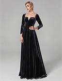 Χαμηλού Κόστους Φορέματα Ξεχωριστών Γεγονότων-Βραδινή τουαλέτα Τετράγωνη Λαιμόκοψη Μακρύ Βελούδο Κομψό / Στυλ Διασήμων Κοκτέιλ Πάρτι / Επίσημο Βραδινό / Αργίες Φόρεμα 2020 με Πλισέ