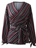 billige Skjorter til damer-Tynn V-hals Skjorte Dame - Stripet Grunnleggende Lilla