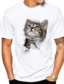 ราคาถูก เสื้อเชิ้ตผู้ชาย-สำหรับผู้ชาย ขนาดพิเศษ เสื้อเชิร์ต Street Chic ลายพิมพ์ คอกลม 3D / สัตว์ Cat สีเทา / แขนสั้น / ฤดูร้อน