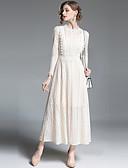 baratos Vestidos de Mulher-Mulheres Para Noite Moda de Rua / Sofisticado Evasê / balanço Vestido - Renda, Sólido Gola Redonda Cintura Alta Longo