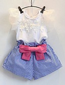ราคาถูก ชุดเด็กผู้หญิง-Toddler เด็กผู้หญิง Street Chic ทุกวัน ฮอลิเดย์ สีพื้น ลายดอกไม้ โบว์ ระบาย ตารางไขว้ แขนสั้น ปกติ ปกติ ชุดเสื้อผ้า สีน้ำเงิน / น่ารัก