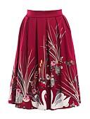 abordables Faldas para Mujer-Mujer Básico Línea A Faldas - Estampado, Un Color / Floral / Animal Negro Azul Marino Wine L XL XXL / Delgado