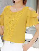 billige Skjorter til damer-Løse skuldre Bluse Dame - Ensfarget Dusty Rose Hvit / Utskjæring
