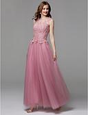 Χαμηλού Κόστους Βραδινά Φορέματα-Γραμμή Α Illusion Seckline Μακρύ Τούλι / Δαντέλα χάντρες Λουλουδάτο / Χρώματα Pastel Χοροεσπερίδα / Επίσημο Βραδινό Φόρεμα 2020 με Διακοσμητικά Επιράμματα