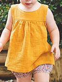 ราคาถูก เสื้อเด็กทารกผู้หญิง-ทารก เด็กผู้หญิง พื้นฐาน ทุกวัน สีพื้น เสื้อไม่มีแขน ปกติ ฝ้าย เลื้อกล้ามและเสื้อแขนสั้น ขาว