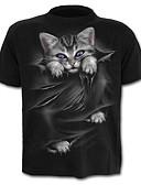baratos Camisas Masculinas-Homens Camiseta Estampado, Gráfico / Animal Algodão Decote Redondo Preto
