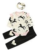 olcso Bébi ruházat-Baba Lány Alkalmi Napi Nyomtatott Hosszú ujj Pamut Ruházat szett Fehér