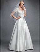 ราคาถูก ชุดแต่งงาน-A-line คอวี ลากพื้น ลูกไม้ / ซาติน ชุดแต่งงานที่ทำขึ้นเพื่อวัด กับ เข็มกลัด โดย LAN TING BRIDE® / หลังสวยๆ