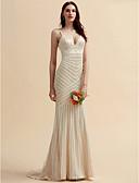 ราคาถูก Special Occasion Dresses-ทรัมเป็ต / เมอร์เมด คอวี ชายกระโปรงลากพื้น ลูกไม้ / Tulle ชุดแต่งงานที่ทำขึ้นเพื่อวัด กับ ลูกไม้ โดย LAN TING BRIDE®