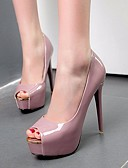 ราคาถูก ชุดเสื้อผ้าเด็กผู้ชาย-สำหรับผู้หญิง รองเท้าส้นสูง ส้น Stiletto ที่สวมนิ้วเท้า PU ปั๊มพื้นฐาน ฤดูใบไม้ผลิ สีดำ / ขาว / สีม่วง
