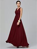 זול שמלות שושבינה-גזרת A צווארון V עד הריצפה שיפון שמלה לשושבינה  עם בד נשפך בצד / בד בהצלבה על ידי LAN TING BRIDE®